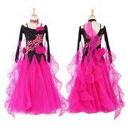 a126【社交ダンス】ビッグコスチュームのドレスS~XXL[黒・赤]★
