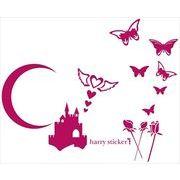 HARRY STICKER ウォールステッカー nightcastle (月夜のお城と蝶々) ピンク M