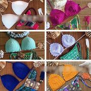 BC135313◆5000円以上送料無料◆ オリジナル 手作り編みモチーフ 水着 ビキニ ブラジャー