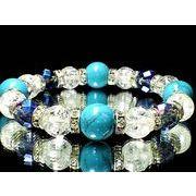ハウライトターコイズ12ミリ×64面アクアオーラブルー×クラック水晶数珠*巾着袋付