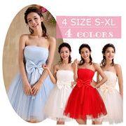 パーティー結婚式 花嫁ウェディングドレス お呼ばれミニ 編み上げ ★カラードレス