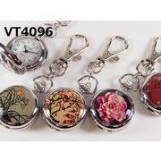 VITAROSOホルダー時計 花柄 蓋付き懐中 ミラー付き 日本製ムーブメント