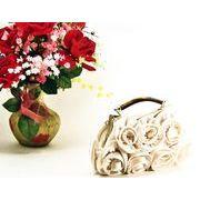 【ベージュ即納】結婚式パーティーにぴったり花モチーフの綺麗な2WAYサテンパーティーバッグYB-8