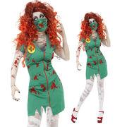 【即日出荷】緑 血まみれ ナース服 ゾンビ ホラー系 コスプレ衣装 ハロウィン【5192/2】