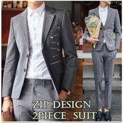 2点セットアップ/スーツ/ジップデザインメンズ2Bスリムスーツ suit結婚式宴会お兄系サロン系