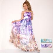 6004シフォンフラワー柄ラインストーン装飾ロングドレス パーティードレス フォーマル キャバドレス