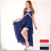 0115☆胸元ゴージャスビジュー&ビーズ装飾レースミニスカートINシフォンロングドレス キャバドレス