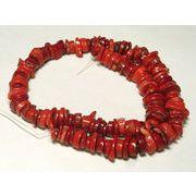 珊瑚(染色) 真紅 輪切り 約8-10×2-4mm 約40cm 連販売 約粒133個