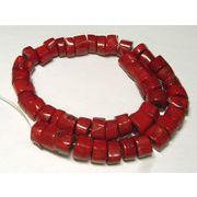 珊瑚(染色) 真紅 ソーサー 約15×10mm 約42cm 連販売 約粒43個