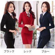 レディース ジャケット+スカート 2点セット オフィス 大きいサイズ リクルートスーツ 女性面接