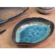 【澄みわたる深みグリーン】 和陶器の造形美 温もりのだ円小皿