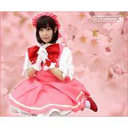 1151F★MB■送料無料■ チェリーガールワンピースセット 色:ピンク/白 サイズ:M/BIG