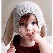 ニット帽秋冬新品!!!★大人気★保温ニット帽子★べビーハットファション帽★可愛いウサギ耳帽子
