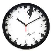 掛時計 サークル ネコ(ブラック)