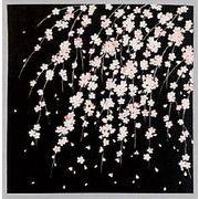 【ご紹介します!かわいらしさにこだわった綿素材の小ふろしき 】しだれ桜(黒)