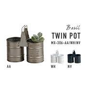 ドラム缶をイメージした形状のメタルポットシリーズ【バリル・ツインポット】