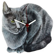 ◆英アソート対象商品◆【英国雑貨】Lark Rise Designs 猫の壁掛け時計 Gray Cat(LRC16)