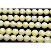 天然石良質【マザーオブパール (128面カット)】10mm 1連(約35cm)_R1665-10/A11-1