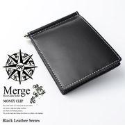 【Merge】マージ馬革×牛革マネークリップMG-1719BK 札挟み