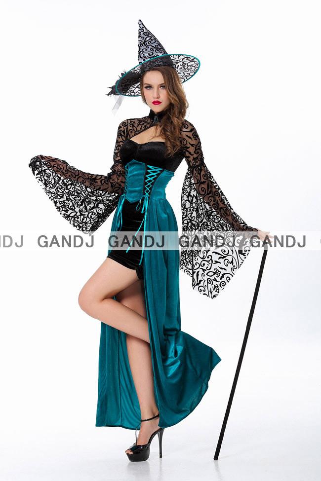 ブルーグリーン魔女/ハロウィン衣装/コスプレ衣装/7683