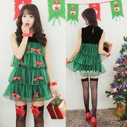 【即日出荷】緑 ツリー 赤リボン サンタコスチューム クリスマス コスプレ衣装【9205】