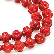 【在庫限り】天然石 ビーズライン 卸売  /シーバンブー・海竹珊瑚 赤色・レッド デザインビーズ