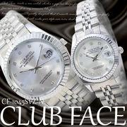 【ケース有or無】☆CLUB FACE  腕時計 ジルコニア 魚眼 日付 ペアウォッチ◇CF-1045SVZ-N