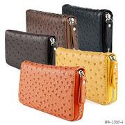 【ラウンドファスナー長財布】オーストリッチ型押しPU財布 シンプル レザー調