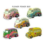 【FLOWER POWER BUS 】 フラワー パワー バス デコレーション 【置物 アメ雑 ヒッピー】