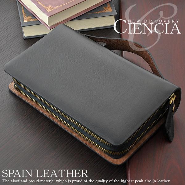【CIENCIA/シエンシア】 高級スペインレザーダブルファスナーミニセカンド/財布機能付き