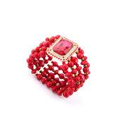 ゴージャス赤いビーズワイドバングル/ブレスレット L0124