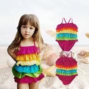 子供水着 キッズ水着 女の子 子供用 ワンピース 虹模様 ギャザー