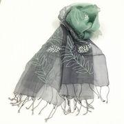 【インド製】ビーズ刺繍異素材グラデストール