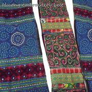 カラフルで繊細なモン族の刺繍が施された一点物!モン族刺繍ベルト