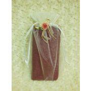 花リボン付 オーガンジー 巾着袋(大) 3色(ワイン、サックス、オレンジ欠品中)