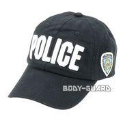 N.Y.POLICEキャップ ブラック ロゴ(白字)
