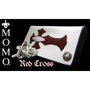 本物エイ革クロス二つ折り長財布◆ロングウォレット レッドクロス
