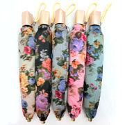 【日本製】【雨傘】【折りたたみ傘】シャンタン両面生地ホグシプリント日本製コンパクト折畳雨傘