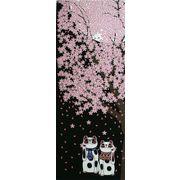 福まねき猫_夜桜 日本手ぬぐい
