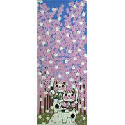 福まねき猫_桜並木 日本手ぬぐい