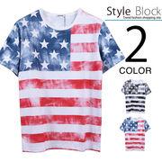 星条旗総プリントTシャツ/sb-255686