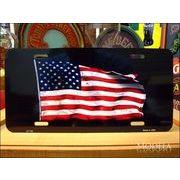 ライセンスプレート 揺らめくアメリカ国旗