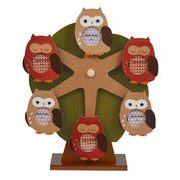 【 (日本製)木製オルゴール付回転式フォトフレーム(フクロウ) 】 【ベビーシリーズ】