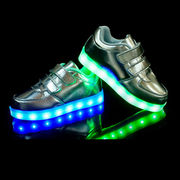 キッズシューズ 光る夜光靴 ハイカットLED靴 7色発光モードスニーカー靴 子供用 USB充電式