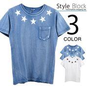 カットデニムスタープリントポケットTシャツ/sb-255657
