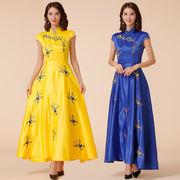 大きいサイズ 蝶々柄刺繍ロング ドレス チャイナドレス 復古風 エレガント フォーマル M/L/2L/3L/4L 9885