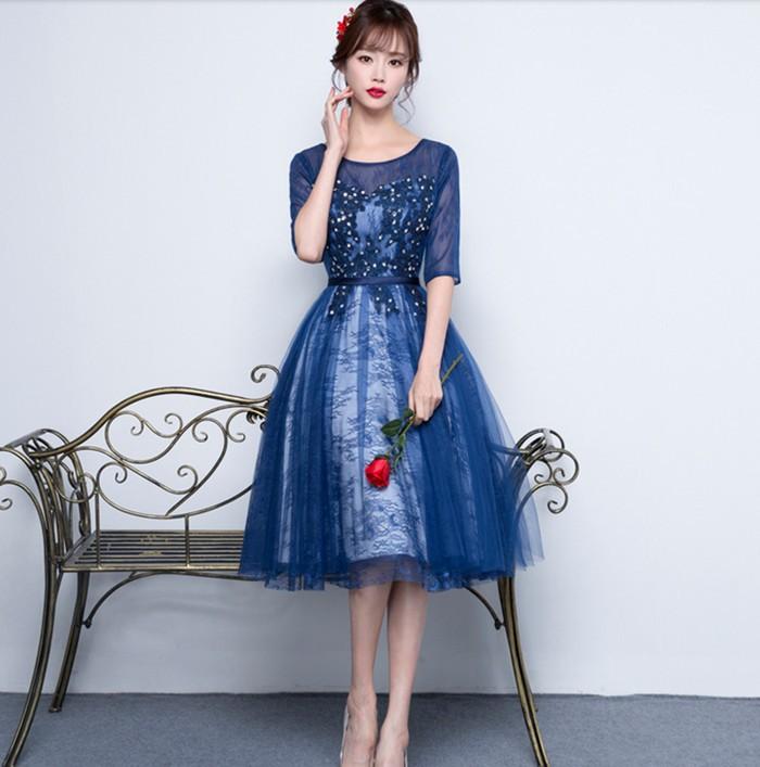 c734c99ed9c08 新品 高級感 パーティードレス 結婚式 ワンピースウェディングドレス 二次会 ロング5分袖 紺色