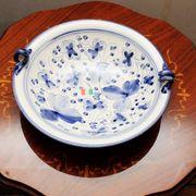【イタリア製】 陶器 絵皿 ハンドペイント 青柄(直送可能)