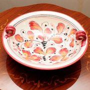 【イタリア製】 陶器 絵皿 ハンドペイント 赤柄(直送可能)