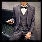 新品 高品質/セットアップ 3点セットスーツ/ ビジネススーツ/ダブル/スリム/細身/チェック柄 おしゃれ